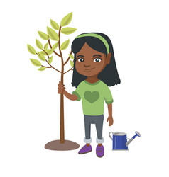 african-american smiling girl planting a tree vector image