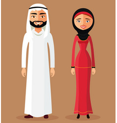 arab muslim couple man and woman standing vector image