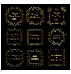 golden decorative frames with christmas greetings vector image