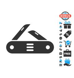 swiss multitool knife icon with free bonus vector image vector image