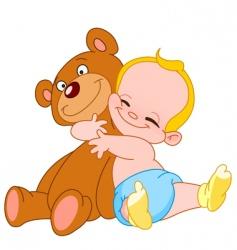 baby hug bear vector image vector image