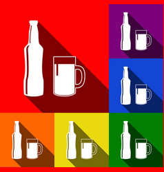beer bottle sign set of icons with flat vector image
