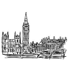 big ben and westminster bridge in london vector image