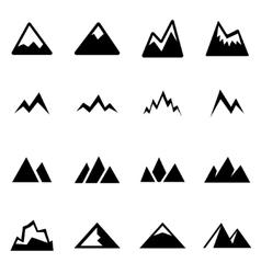 Black mountains icon set vector