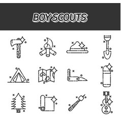 boy scouts concept icons vector image vector image