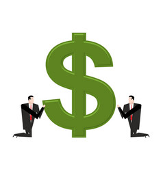 businessman praying to dollar prayer cash pray vector image vector image
