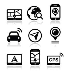 GPS navigation travel icons set vector image vector image