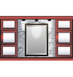 Mock up frame in the room with red shelves vector