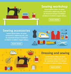 sewing tools banner horizontal set flat style vector image vector image
