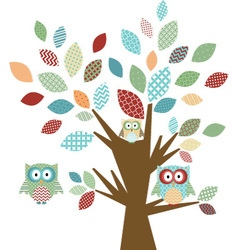 Cute Owl and Tree vector image
