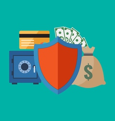 Financial security concept Flat design stylish vector image vector image