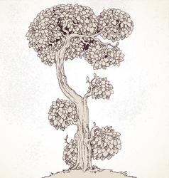 Grunge vintage enchanted tree bizarre vector