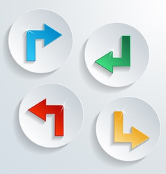 icons with arrow shape and shadow vector image