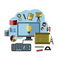 Online ideas inspiration and research flat concept vector image vector image