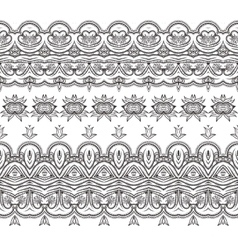 Set of filigree patterned brushes vector image