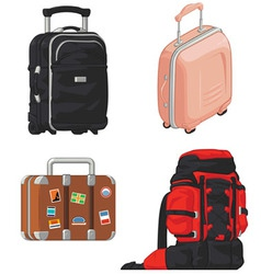 Travel Suitcase and Mountain Bag vector image vector image