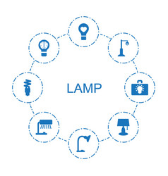 8 lamp icons vector image