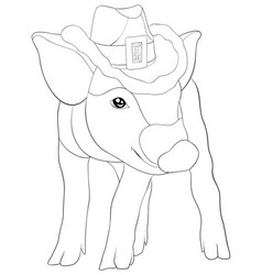 adult coloring bookpage a cute pig image for vector image