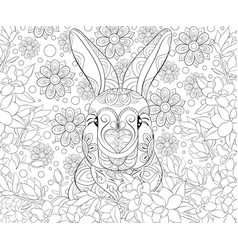 Adult coloring bookpage a cute rabbit on the vector
