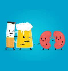 Alcohol and smoke kill kidneys stop drink vector