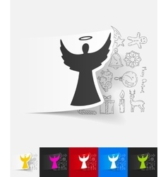 Angel paper sticker with hand drawn elements vector