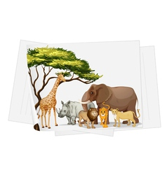 Animals in jungle on paper vector image