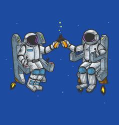 astronauts drink beer sketch vector image