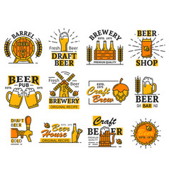 Beer house bar or brewery icons with alcohol drink vector