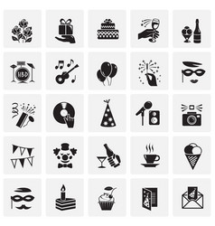 birthday party icons set on squares background for vector image