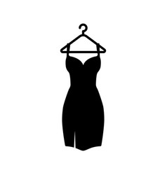 Black dress on a hanger icon vector