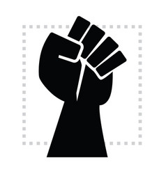 Black strong and powerful rise hand fist poster vector