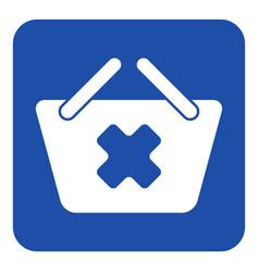 Blue white sign - shopping basket cancel icon vector