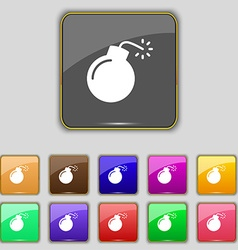 bomb icon sign Set with eleven colored buttons for vector image