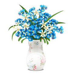Bouquet spring flowers and blue forget-me-nots vector