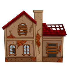brick house in poor condition vector image