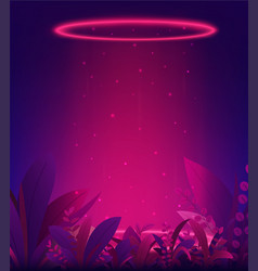 bright red glow portal neon background with vector image