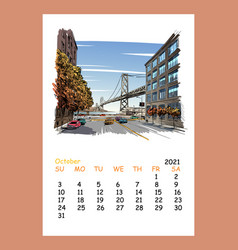 Calendar sheet layout october month 2021 year vector