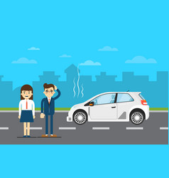 Car repairs banner with people near broken car vector