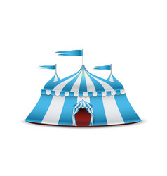 cartoon circus tent blue and white stripes vector image