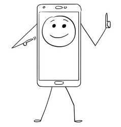 cartoon of mobile phone character with emoticon vector image