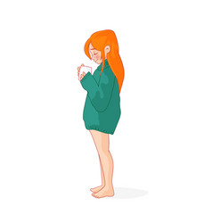 cartoon red-haired girl in a sweater vector image