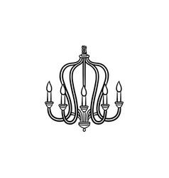 chandelier hand drawn sketch icon vector image