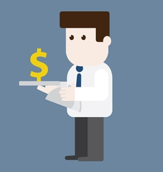 Character businessman served money vector image