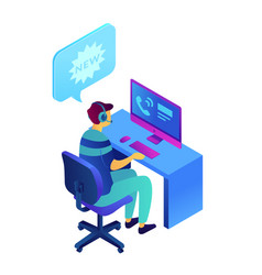 Cold calling and operator with headset isometric vector
