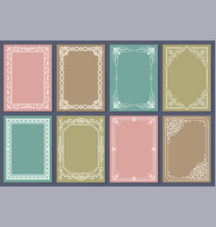 Collection of frames white color isolated vector