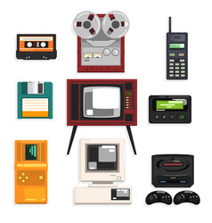 collection of retro technique audio music vector image