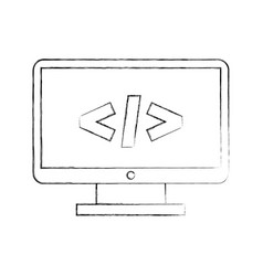computer desktop with progamming language vector image