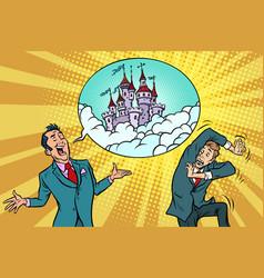 Confident businessman offers a man fabulous castle vector