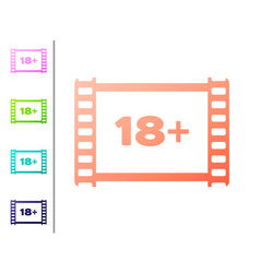 Coral play video with inscription 18 plus icon vector