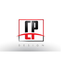 cp c p logo letters with red and black colors and vector image